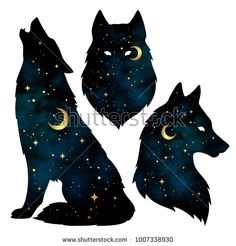 Set of wolf silhouettes with crescent moon and stars isolated. Sticker, print or tattoo design vector illustration. Pagan totem, wiccan familiar spirit art - compre este vetor na Shutterstock e encontre outras imagens. Wolf And Moon Tattoo, Moon Star Tattoo, Wolf Tattoos, Star Tattoos, Wolf Moon, Anime Wolf, Hirsch Illustration, Fuchs Illustration, Digital Illustration