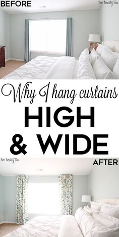 So smart! Why you should hang curtains high and wide! Link for bedspread in as well Wide Window Curtains, Curtains Over Blinds, High Curtains, Hanging Curtains, How To Hang Curtains, Ceiling Curtains, Living Room Decor Curtains, Living Room Windows, Bedroom Curtains