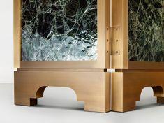 Detail photo of a Green Mica Bespoke Furniture, Luxury Furniture, Furniture Design, Custom Metal Work, Brittany France, Green Furniture, Screen Design, Metal Finishes, Luxury Interior