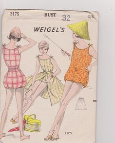 1950s Swimsuit Playsuit, Skirt / Cover All Madame Weigels 2175 - 1950's One Piece Swimsuit Sewing Pattern