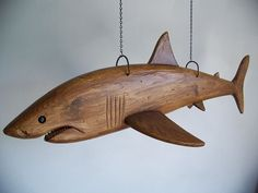 Hand Carved Great White Shark by StephanCountry on Etsy Wood Carving Designs, Wood Carving Patterns, Wood Carving Art, Wood Art, Metal Fish, Wood Fish, Fish Sculpture, Wood Sculpture, Shark Craft