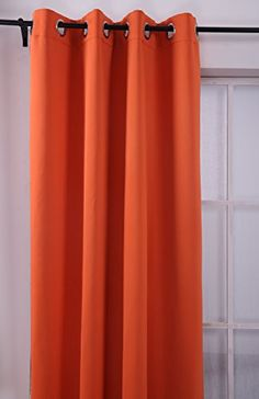 Deconovo Grommet Plush Orange Thermal Insulated Blackout Curtain Panel 52x63 Inch