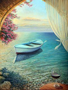 La Dolce Vita.  Una poesia sul mare  pittura a olio originale