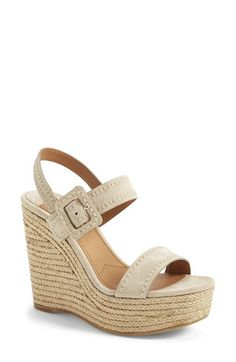 "Free shipping and returns on Prada Suede Wedge Sandal (Women) at Nordstrom.com. 5"" heel; 1 3/4"" platform; 120mm pitch.<br>Adjustable strap with buckle closure.<br>Leather upper, lining and sole.<br>By Prada; made in Italy.<br>Salon Shoes."