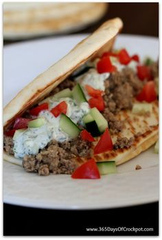 Slow Cooker Greek Turkey Pitas (So Easy a Kid Could Do It + Video) - 365 Days of Slow Cooking (soup dish ground turkey) Slow Cooker Turkey, Cooking Turkey, Tzatziki Sauce, Slow Cooker Recipes, Crockpot Recipes, Cooking Recipes, Crockpot Ground Turkey Recipes, Recipes With Ground Turkey, Healthy Recipes