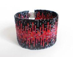 Nero rosso e grigio braccialetto Bracciale perline Toho di DiDecor