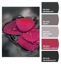 The richness of grays plays nicely with red. Paint colors from Chip It! by Sherwin-Williams - colour schemes for bedrooms
