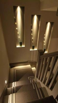 Home Stairs Design, Interior Stairs, Modern House Design, Home Interior Design, Staircase Lighting Ideas, Stairway Lighting, Home Lighting, Lighting Design, Stairs With Lights