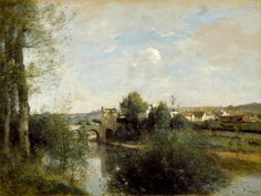 """https://www.facebook.com/MiaFeigelson  """"Seine and old bridge at Limay"""" (1872) By Jean-Baptiste-Camille Corot, from Paris (1796 - 1875) - oil on canvas; 40.6 x 66 cm; 16 x 26 in - © Los Angeles County Museum, Los Angeles, California, US Paul Rodman Mabury Collection http://www.lacma.org/ https://www.facebook.com/LACMA"""