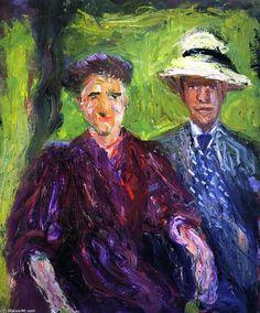 'doppel porträt (grün hintergrund', 1908 von Richard Gerstl (1883-1908, Austria)