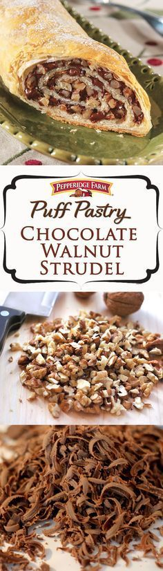 Pepperidge Farm Puff Pastry Chocolate Walnut Strudel Recipe. This comforting dessert features a luscious chocolate and walnut filling, rolled up in golden Puff Pastry. It's the perfect choice when hosting a party or as a cozy dessert when staying in for the night.