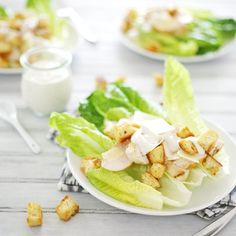 This chicken caesar salad is topped with homemade eggless caesar dressing and crunchy croutons. A delicious lunch or easy dinner recipe.