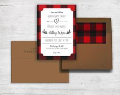 Lumberjack Plaid Custom Wedding Invitation Set by IvoryIsleDesigns, Red and Black Rustic Plaid, Adorable for outdoor wedding in the woods! Lumberjack Party, Lumberjack Wedding, Plaid Wedding, Red Wedding, Rustic Wedding, Wedding Things, Custom Wedding Invitations, Digital Invitations, Wedding Invitation Sets