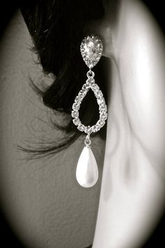 SALE - Bridal jewelry - Pearl earrings - white pearl drops - Sterling silver posts - Rhinestones - Long - Lux - Wedding Jewelry - on Etsy, $49.99