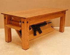 Are you looking for a secret space to hide your weapons? Well, stop searching and look at this elegant Oak Coffee Table by NJ Concealment Furniture that comes with a secret compartment at the bottom to hide your secret stuff. Hidden Gun Storage, Hidden Shelf, Weapon Storage, Gun Concealment Furniture, Hidden Weapons, Hidden Compartments, Oak Coffee Table, Furniture Design, Furniture Ideas