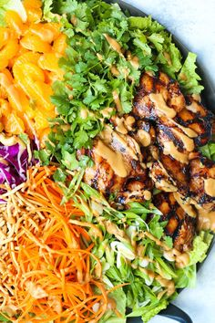 Salad recipes 571675746445835423 - Asian Chicken Salad – With perfectly juicy, tender teriyaki chicken and the most amazing peanut dressing ever! It's quick, simple and perfect for a crowd! Asian Chicken Salads, Chicken Salad Recipes, Salad Chicken, Chinese Chicken, Healthy Salads, Healthy Eating, Healthy Recipes, Damn Delicious Recipes, Big Salads