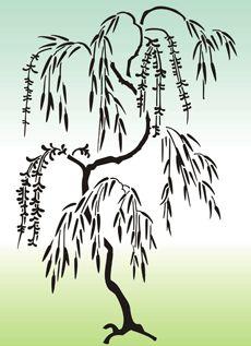 Japanska vide • mönsterschablon till konst • återanvändbara schablon