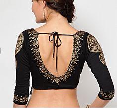 Three quarter sleeves black readymade saree blouse.