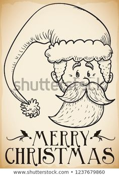 Beautiful retro design with Santa Claus head and hat in hand drawn style and greeting message for Christmas celebration. Christmas Party Decorations, Christmas Illustration, Retro Design, Hand Drawn, Celebration, How To Draw Hands, Merry Christmas, Santa, Beautiful