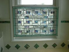 Beveled Stained Gl Window Panel Bathroom