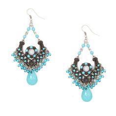 Bollywood Style Shiny Stone Beads Chandelier Drop Earrings