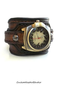 Leather Cuff , Wrist Watch, Leather Men's watch, Leather Cuff, Bracelet Watch, Watch Cuff, Chocolate Brown