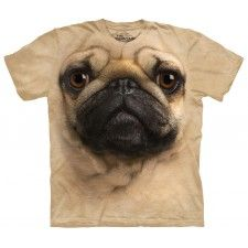 Pug Dog Face The Mountain Adult and Child Size T-Shirt T Shirt Chien, Pug Shirt, Dog Anxiety, Big Face, Pug Love, Bulldog Puppies, Pet Dogs, Moon Shirt, Wolf Moon