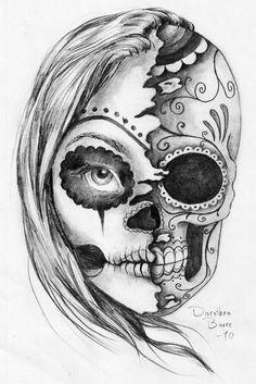 Black And White Half Lady Half Sugar Skull Head Evil Tattoo Design
