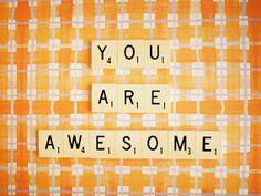 You Are Awesome. Retro Scrabble Tiles. Orange par happeemonkee, $20.00
