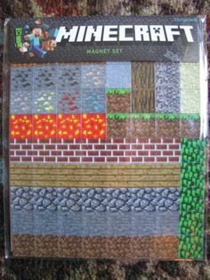 Minecraft Magnet Set 2 Sheets 160 Total Magnets Tiles Blocks Video Gaming NEW