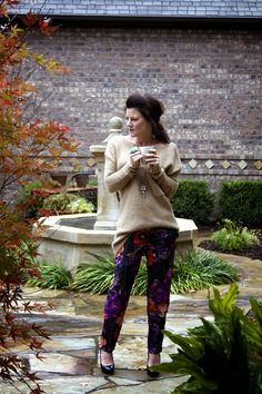 Styled Chaos Fashion Friday: Sheridan French Floral pants Cozied up with oversized sweater