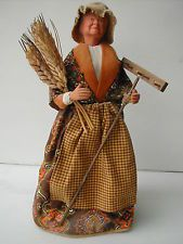 Santon de Provence, Woman with wheat, signed by Claude Carbonel