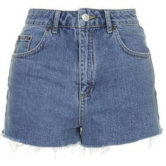 TopShop Tall Blue Denim Mom Shorts ($37) ❤ liked on Polyvore featuring shorts, bottoms, short, pants, mid stone, high rise shorts, highwaist shorts, blue shorts, blue denim shorts and high-waisted denim shorts