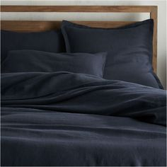 Shop Lino II Midnight Blue Linen King Duvet Cover.  Made of high-quality linen, our new luxe bedding collection is super soft and available in eight great mix- and match-able shades.