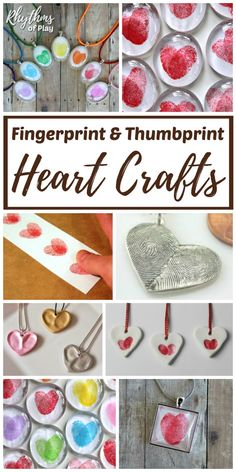 Fingerprint & Thumbprint Heart Crafts - These sweet gift ideas can be created by kids and adults! DIY fingerprint crafts make for a unique homemade gift idea. Consider adding these to your list for Valentine's Day, Mother's Day, Father's Day, Christmas, a Valentine's Day Crafts For Kids, Valentine Crafts For Kids, Valentines Day Activities, My Funny Valentine, Valentines Diy, Holiday Crafts, Crafts To Make, Fun Crafts, Arts And Crafts