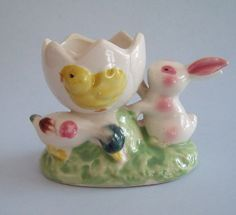 Vintage Egg Cup Bunny Chick and Duck in. high by Vintage Egg Cups, Egg Shells, Vintage Pottery, Chips, Bunny, Eggs, Ethnic Recipes, Desserts, How To Make