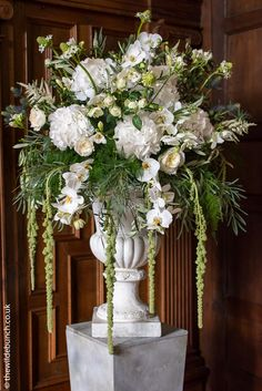 ceremony ideas, re: to be placed at the back of the aisle, perhaps Floral Wedding, Wedding Flowers, Olive Branch Wedding, Country House Wedding Venues, London Bride, White Orchids, Tubs, Floral Arrangements, Table Decorations