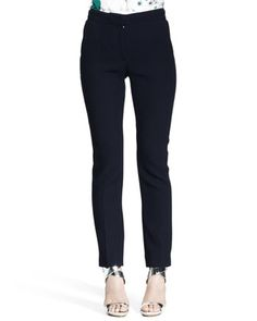 Nina Ricci Slim Flannel Pantalon Pants - Neiman Marcus NAVY ANKLE PANTS made of a dressy fabric