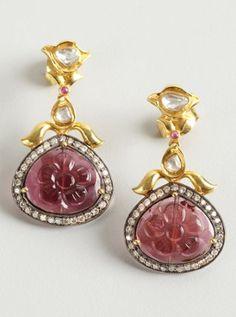 tourmaline and diamond floral drop earrings