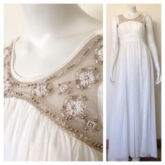 NWT Long White Dress A new with tag long white dress embellished with beautiful beaded design. Would be perfect for prom or a light summer wedding dress. Has a slip underlay and has bra cups so you don't have to wear a bra. Is a size 1 but would definitely fit a size two. City Studio Dresses Prom