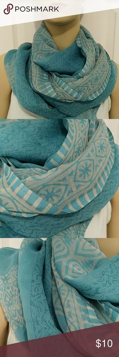 Women scarf Beautiful  turquoise and gray color very soft and light ,very good condition unknown Accessories Scarves & Wraps