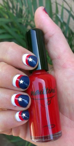 The 4th of July is just a couple of weeks away! Do you LIKE this patriotic #nailart look that our Celeb Manicurist Elsbeth Schuetz created with #Nailtini in Bloody Mary, Admiral Perry and Cream? #manimonday, #manicure www.tinibeauty.com