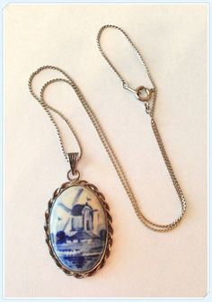 Vintage Delft Cameo Necklace Signed Intial Makers by bettysworld4u