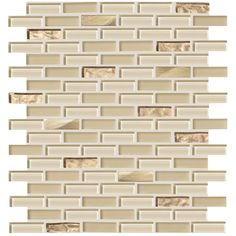 American Olean Delfino Glass Cornsilk Brick Mosaic Glass Wall Tile (Common: 12-in x 12-in; Actual: 11.87-in x 12.87-in)