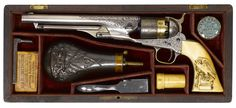 Cased Colts Engraved | Cased Engraved Colt Model 1860 Army percussion revolver serial number ...