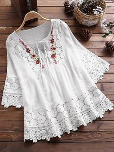 This lace blouse features embroidery floral printing and half sleeve. The multi-color blouse is for casual life, office and other occasion. Tunic Blouse, Long Blouse, Shirt Blouses, Tunic Tops, Blouses For Women, T Shirts For Women, Plus Size Blouses, Types Of Sleeves, Clothes
