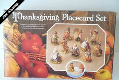 Vintage Thanksgiving Place Card Set with 10 Porcelain Figures and 24 Place Cards by VintageSistersx2 on Etsy