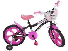 77c240003 Bicicleta Infantil Aro 16 Houston Tina Rosa - com Rodinhas