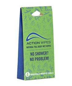 Action Wipes: Whether you're camping with the kids or in need of a quick refresh after the gym, these full body wet wipes remove dirt, sweat and odor—no rinsing needed.