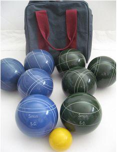 engraved custom bocce ball set - Patre Boules Colores